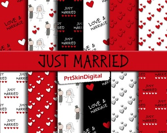 "Wedding Digital Paper ""Just Married"", Heart Digital Paper, Red and Black Wedding Paper for scrapbooking, invitations, Valentine's Day"