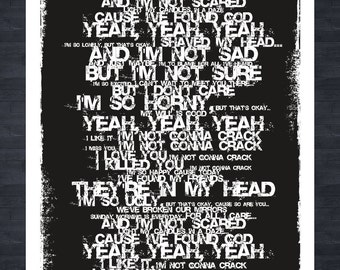 NIRVANA LITHIUM LYRICS - Grunge style print
