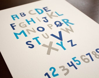 Alphabet and Numbers 8 x 10 Letterpress Print - Blue