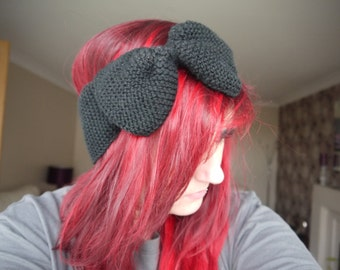 knitted bow ear warmer headband