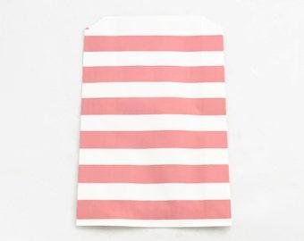 PINK PAPER BAGS (Set of 12) - Light Pink Horizontal Stripe Flat Paper Bags (19cm x 12cm)
