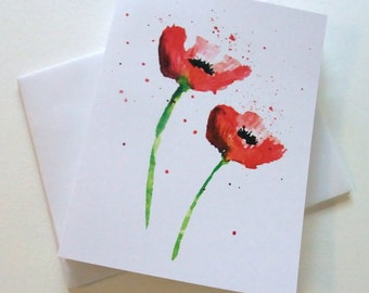 Red Poppy Note Cards, Watercolor Print, Blank Inside, Thank You Cards, Invitations, Tea Party, Floral, Botanical, Red Poppies, Set of 6