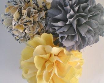 "8"", 9"", 11"" fabric pom poms gray yellow, satin ribbon, varying lengths"