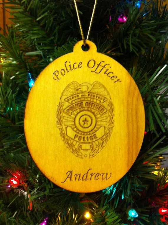 Custom Personalized Wood Police Christmas Ornament