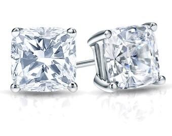 14k Gold 4-Prong Martini Cushion Cut Diamond Stud Earrings 1.00 ct. tw. (H-I, I1)