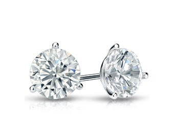 14k Gold 3-Prong Martini Round Diamond Stud Earrings 0.75 ct. tw. (H-I, I2)