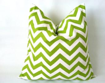 Green Chevron Pillow Covers - 18 x 18, One, Chartreuse Green Pillows, Decorative Pillow, Bright Green Cushions, Zig Zag Pillow, Chevron