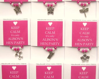 Personalised Hen Party Favours - KEEP CALM Wine Glass Charms
