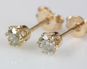 Gold Diamond Earrings 0.5 Carat-14K Yellow Gold-Stud Earrings-Women Jewelry-graduation gift-baby girl jewelry-infant jewelry-for him
