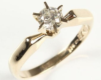 Zirconia Engagement Ring, 14 k yellow gold ring, solitaire ring , size selectable, promise ring,