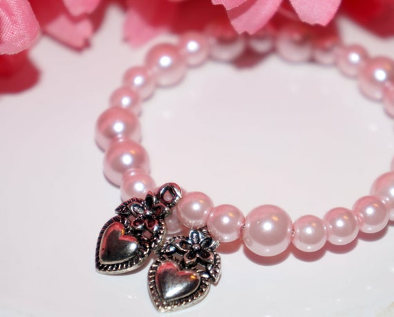 Flower girl bracelet, flower girl jewelry, pink flower girl jewelry, pearl flower girl bracelet