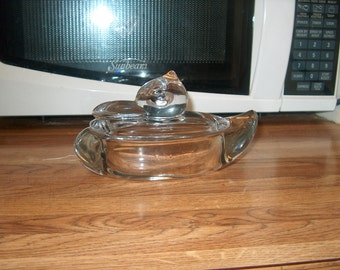 Vintage Glass Duck Dish, with Lid, WAS 20.00 - 50% = 10.00