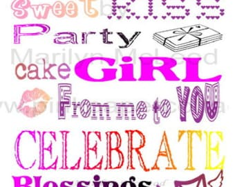 Digital Printable Girl's Birthday Subway Art (2) INSTANT DOWNLOADS to frame, for cards, altered art or tags, high resolution JPG image.