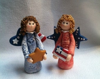 Patriotic Angel, Clay Angel, Angel Figurine