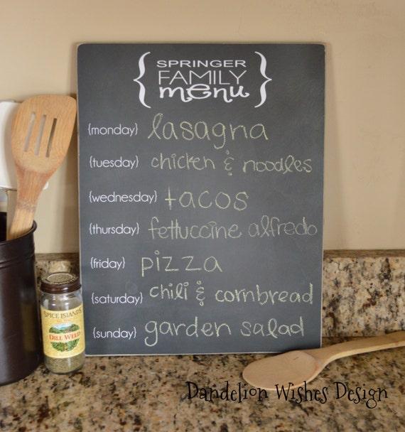 Personalised Kitchen Signs: Personalized Chalkboard Menu Sign 11x14 Kitchen Decor Menu