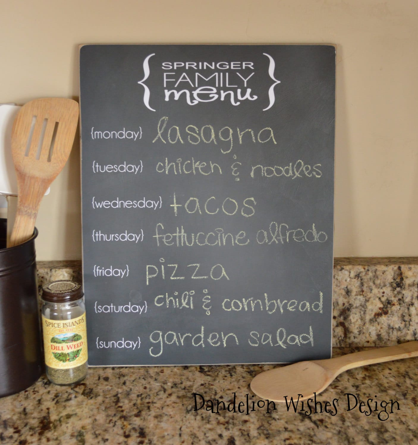personalized chalkboard menu sign 11x14 kitchen decor menu