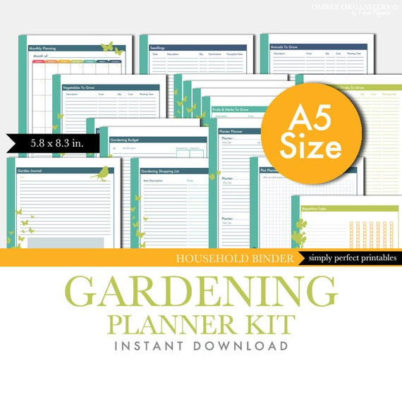 Gardening planner set garden journal printable kit pdf for Gardening tools list pdf