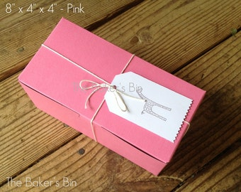 """Pink Bakery Boxes • 8"""" x 4"""" x 4"""" """" • Set Of 6 • Food Safe • Pastries • Donuts • Cakes • Cookies • Old Fashion Bakery Boxes • Boxes Only"""
