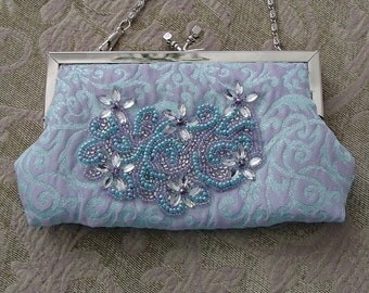 Lilac Aqua Beaded Broacade Evening Frozen Purse