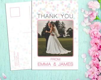 Emma Polka Dot Confetti Wedding Thank You - Deposit