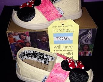 TODDLER Disney Toms - Pink/Silver Glitter