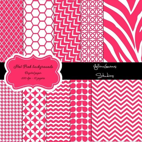 Hot Pink Digital Paper Quot Pink Patterns Quot Pink Digital Paper