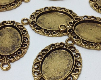 10 Fashion Oval Shape Zinc Alloy Gold Tone Blank Pendants Charms 30mm