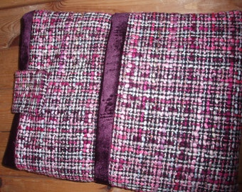 Purple silk/tweed iPad cover / iPad sleeve