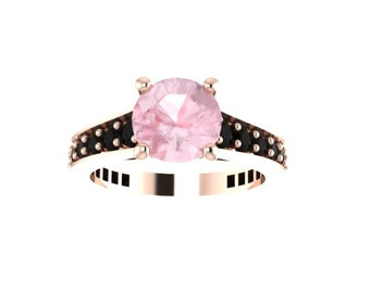 Black Diamond Engagement Ring Morganite Engagement Ring 14K Rose Gold Ring with 7mm Round Morganite Ctr Gemstone Engagement  - V1081