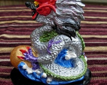 Handmade FENG SHUI Ceramic Dragon Hand Painted GREY small gemstone cabochon in mouth, 10cm x 8cm and available in the 9 Colours of the Bagua