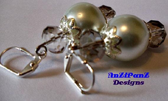 Faux Pearl & Silver Crystal Faceted Earrings              .Pierced LeverbackHandmadeJewelrySpecialOccasionWomenFashion