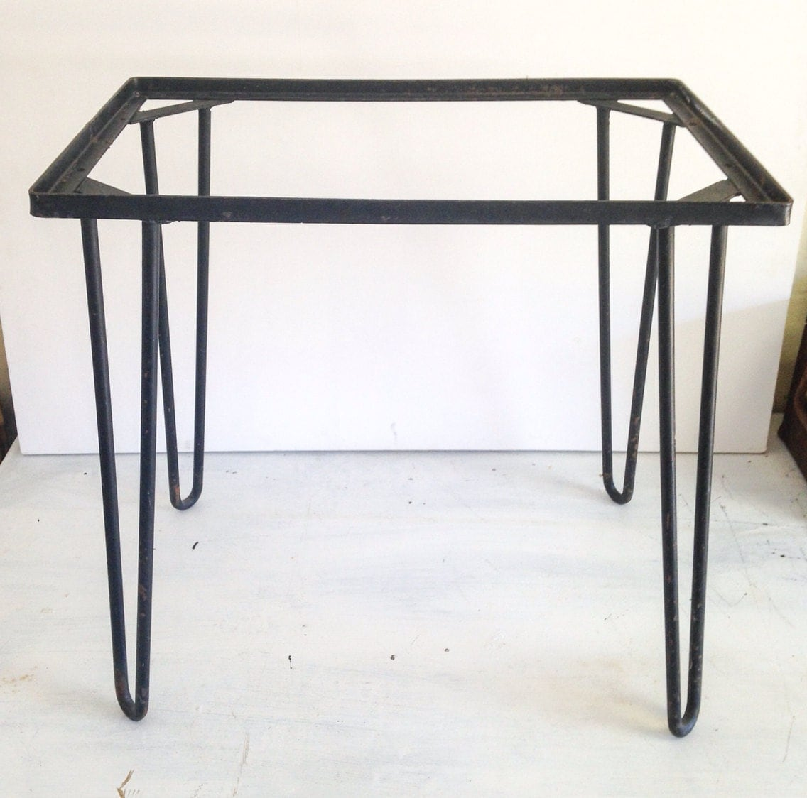 Mid century wrought iron table legs for Rod iron legs
