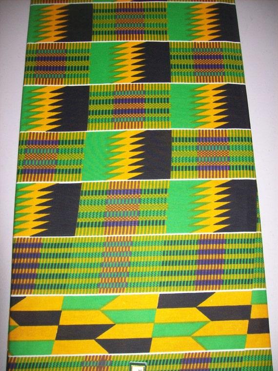 Couleur verte Kente imprimer tissu africain verge demi / African textiles / African prints / tissus tissu kente / vêtements / décor