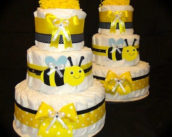 Tumbleweed Diaper cake Bumblebee centerpiece for Baby Shower bee theme or New born present by Little KG's Dreams