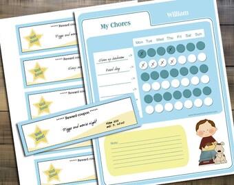 Personalized Print kids chore chart