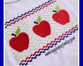 Apples Fall Back to School Faux Smocking Design