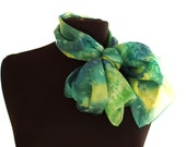 Green silk scarf, hand painted green scarf dyed green scarf