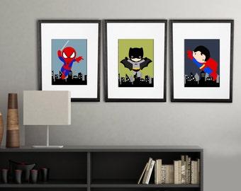 Super Hero Room Etsy - Superhero wall decalssuper hero wall art etsy