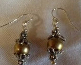 Brass Bead and Sterling Silver Bead Cap Earrings