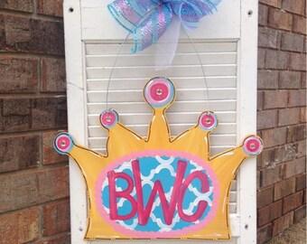 Crown Door Hanger, Little Girl, Baby, Princess, Pink and White, Hospital Door Hanger