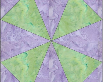 Kaleidoscope 2 Paper Piece Foundation Quilting Block Pattern