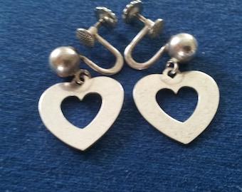 Vintage Forstner Sterling Heart Dangle Earrings, Screw Backs