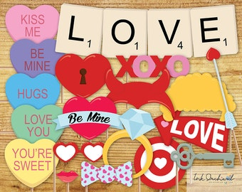 Instant Download Valentine's Day Photo Booth Props Printable Pack 15 items