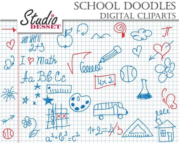 School Doodle Cliparts, Notebook Doodles, Student, Math ...