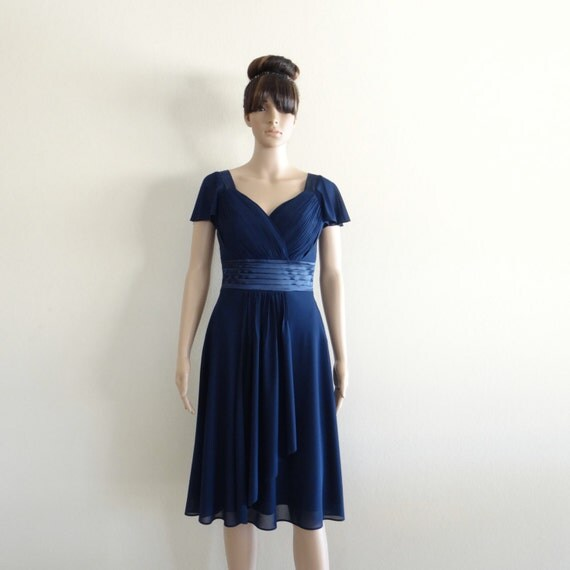 Navy Blue Bridesmaids Dresses With Sleeves : Dress with sleeves navy blue bridesmaid