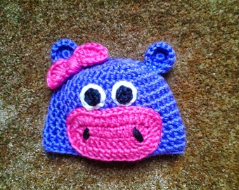 Crocheted Hippo Hat / Animal Hat
