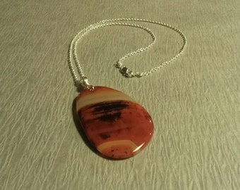 Necklace, Sterling Silver  Necklace with Orange  Agate Stone with Sterling Silver Lobster Claw Clasp