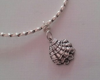 Silver Plate Bracelet with Antique Silver Oyster Shell Charm