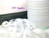 5/8 white fold over elastic, FOE for diy hair ties, Wholesale elastic, headband elastic, white elastic by the yard