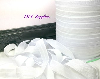 5/8 white fold over elastic, FOE for diy hair ties, Wholesale elastic, headband elastic, white elastic by the yard